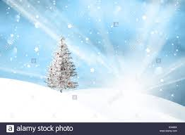 And New Year Holidays In The Sun Winter Snowfall Landscape With Sun Beams And With Lovely Snowy