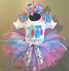 1st birthday tutu aqua blue pink owl birthday party tutu