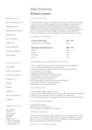 food service resume waiter resume template responsibilities of for sle waitress