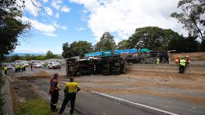 monster trucks crashes videos truck accident causes traffic havoc on mt ousley road illawarra