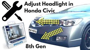 honda civic headlight how to adjust headlight for honda civic