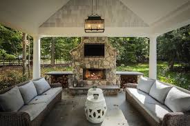 covered patio with fireplace z plus architects decks patios covered patio carriage lantern