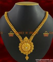 gold stone necklace images Nckn257 kerala stone necklace full net work grand gold plated jpg