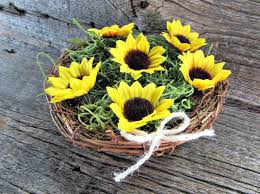 sunflower centerpiece sunflower centerpiece twig birds nest decor centerpiece