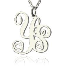 Monogrammed Necklace Sterling Silver Sterling Silver 2 Initial Monogram Necklace