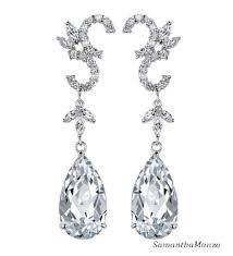Long Chandelier Earrings Dangle Earrings Pear Cut Pave Round Cz Diamond Long Chandelier Dangle Drop Earrings