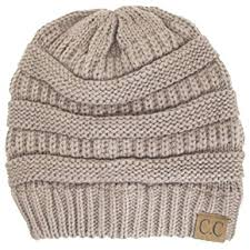 thick slouchy knit oversized beanie cap hat one size beige at