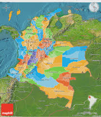 Map Of Colombia Political 3d Map Of Colombia Satellite Outside