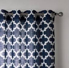 piece navy blue geometric curtains for living room window curtain