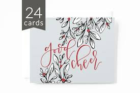 bulk christmas cards christmas card set of 24 illustrated botanical card set