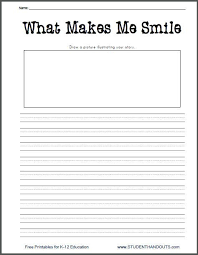 printable handwriting worksheets for 2nd graders what makes me smile free printable k 2 writing prompt worksheet for