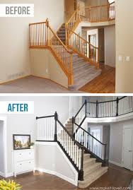 Wooden Stair Banisters Diy How To Stain And Paint An Oak Banister Spindles And Newel