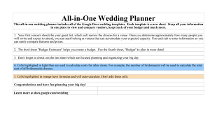 wedding planner prices copy of wedding all in one wedding planner sheets