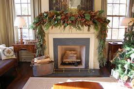 lovely rustic mantel chrismas decoration with berries and