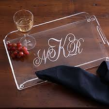 personalized serving tray monogrammed clear lucite serving tray