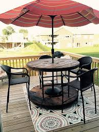 Patio Table Umbrella Insert Creative Use Of Recycled Pallet Cable Spools Picnic Tables