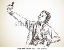 teenage taking selfie vector sketch stock vector 329395607