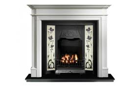 any black tiled insert and bartello limestone fireplace