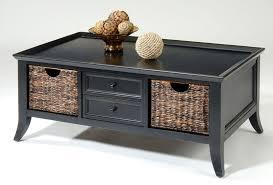 black coffee table pearl glass with undershelf storage baskets