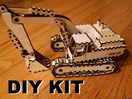 laser cut wood excavator kit build it yourself