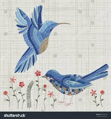 embroidery blue bird pink flowers vector stock vector 622203170