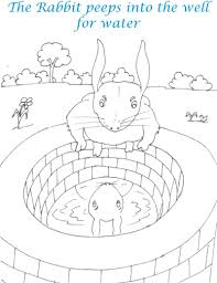 rabbit showing lion in well coloring page for kids