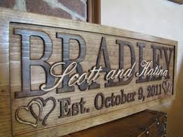 wedding gift signs personalized family name signs carved custom wooden sign last name