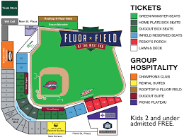 Dodger Stadium Seat Map Ticket Prices And Ballpark Map Greenville Drive Fluor Field