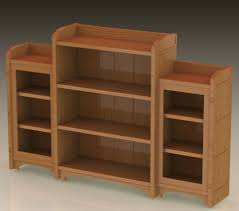 Long Low Bookcase Wood Furniture Home White Wooden Book Cabinet With Three Open Shelf