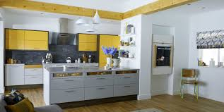 Kitchen Yellow Walls White Cabinets by Yellow Cabinets And Drawers Gray Painted Wall With Ceramic Tile