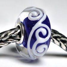 trollbeads new tibet blue white ornament ooak unique limited