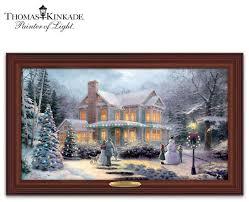 thomas kinkade lighted pictures kinkade victorian family christmas lighted canvas print