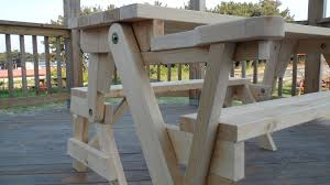 Free Wood Patio Table Plans by Picnic Table Converts To Bench Plans Free Bench Decoration