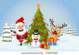 christmas santa claus reindeer snow vector stock vector 519294538