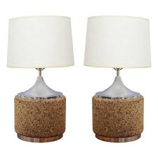 beautiful pair of cork and chrome table lamps 1970s usa for sale