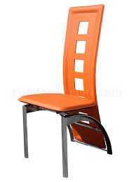 Designer Dining Chair Set Of 4 Orange Bicast Contemporary Dining Chairs W Chrome Legs