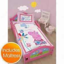 Peppa Pig Duvet Cover 100 Cotton Peppa Pig Tulip Junior Toddler Bed Plus Foam Mattress Amazon Co