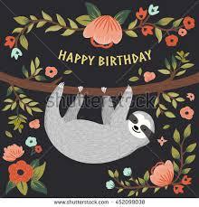 vector happy birthday card sloth stock vector 452099038