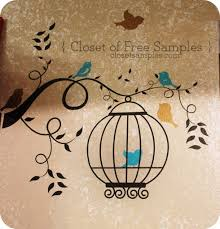 birdcage with curly branch birds wall decal