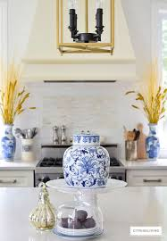 harvest haven fall tour 2016 citrineliving fall decorated kitchen with blue and white ginger jars rich gold accents and figs as