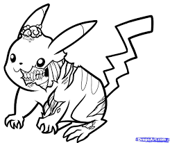 Zombie Pokemon Coloring Pages | pikachu coloring pages zombie pikachu drawing drawing and coloring