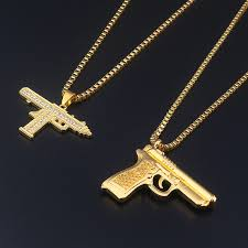 aliexpress necklace pendants images New golden gun supreme crystal jewelry men hip hop chain necklace jpg
