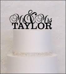 last name monogram mr and mrs last name monogram wedding cake topper in black gold