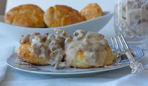 buttermilk cheddar biscuits with sausage gravy
