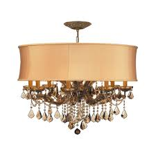 Crystorama Chandeliers Sale Crystal Chandelier With Gold Shade In Antique Brass Finish 4489