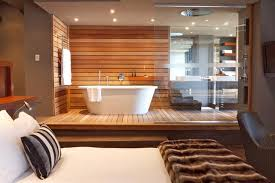 Bedroom Bathroom Raised Bath Composition And Materials Bring Outside In Open
