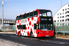 abellio london bus branded in poppies abellio