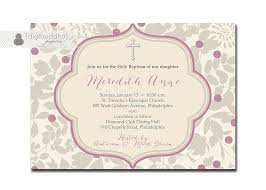 Baptism Invitation Cards Baptism Invitation Purple Gray Classic Christening Invite Baby