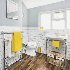 yellow bathroom ideas white and grey bathroom with yellow accents and faux wood flooring