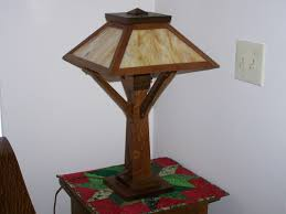 antique mission oak table lamp with green slag glass arts
